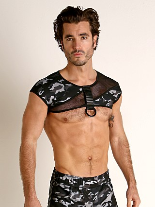 Model in black/grey camouflage STUD Alyx Crop Top Mesh Panel Harness