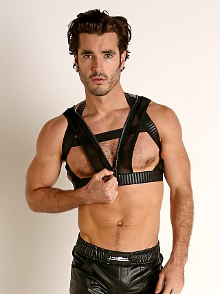 Model in black/silver STUD Lynx Rubber and Mesh Zippered Harness