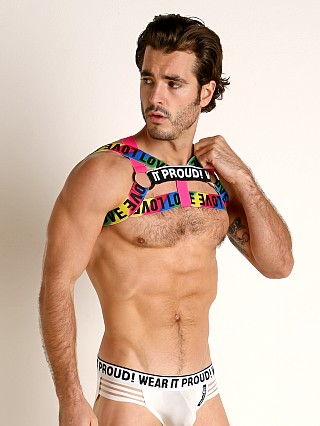 Model in multi-color STUD Daytona Rainbow Pride Harness