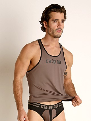 Model in grey Cell Block 13 Cyclone 2.0 Tank Top