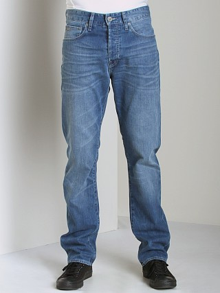 Model in medium aged G-Star 3301 Straight Jeans Snatch Denim