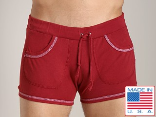 Model in cardinal Go Softwear 100% Cotton Sport Short