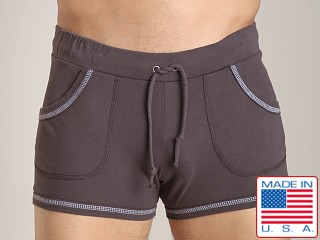 Model in charcoal Go Softwear 100% Cotton Sport Short