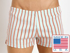 Sauvage Italian Woven Swim Shorts Orange Stripe