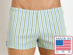 Sauvage Italian Woven Swim Shorts Aqua Stripe