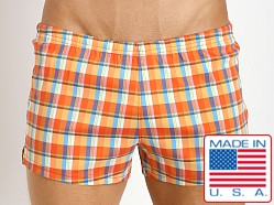 Sauvage Italian Woven Swim Shorts Orange Plaid