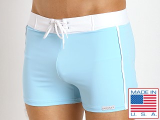 Sauvage Retro Nylon/Lycra Swim Shorts Sky Blue