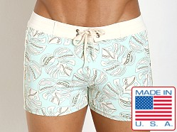 Sauvage Italian Lycra Floral Swim Trunk Pacific Flower