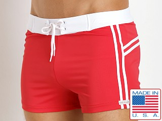 Sauvage Mariner Stripes Italian Lycra Swim Trunk Red