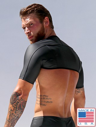 "Model in black Rufskin Pax Stretch ""Rubber"" Sport Sleeves"