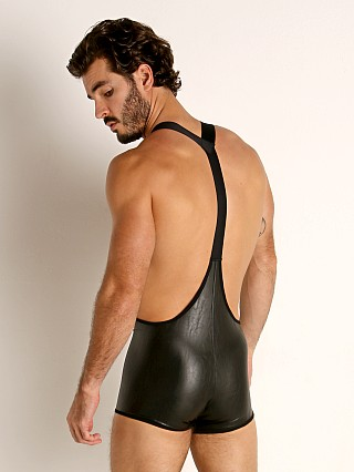 Model in black TOF Paris Fetish Vegan Leather Singlet
