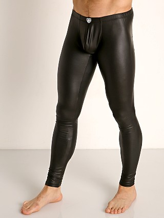 Model in black TOF Paris Fetish Vegan Leather Leggings