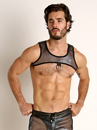 Model in silver TOF Paris Roman Chainmail Harness