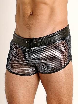 Model in silver TOF Paris Roman Chainmail Shorts