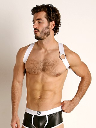 Model in white TOF Paris Party Boy Elastic Harness
