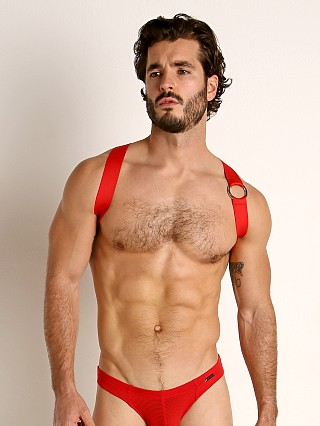 Model in red TOF Paris Party Boy Elastic Harness
