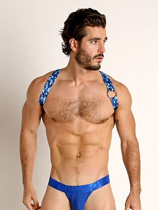 Model in blue camo TOF Paris Party Boy Elastic Harness