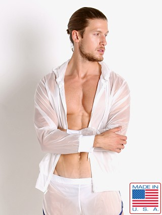 Model in white Go Softwear Hard Core Aviator Windbreaker Hoodie