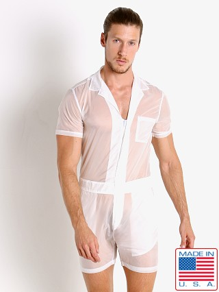 Model in white Go Softwear Hard Core Aviator Romper