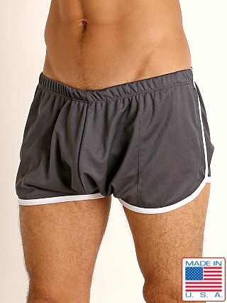 Model in charcoal/white Rick Majors Pique Mesh Bulge Shorts