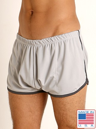 Model in silver/charcoal Rick Majors Pique Mesh Bulge Shorts