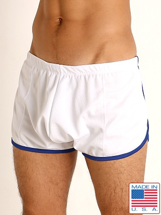 Model in white/royal Rick Majors Pique Mesh Bulge Shorts