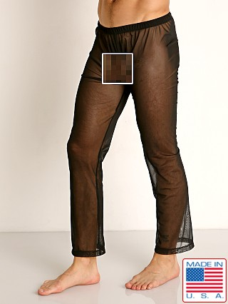 Model in black Rick Majors Sheer Mesh Lounge Pant