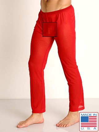 Model in red Rick Majors Sheer Mesh Lounge Pant
