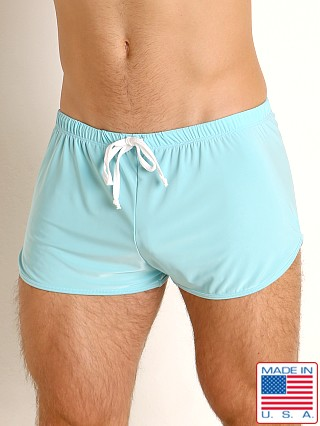 Model in sky blue Rick Majors Glossy Flow Lounge Shorts