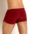Rick Majors Glossy Flow Lounge Shorts Burgundy, view 4