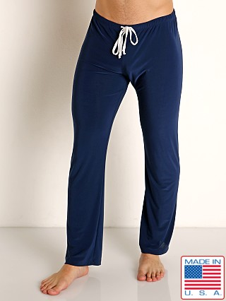 Model in navy Rick Majors Glossy Flow Lounge Pant