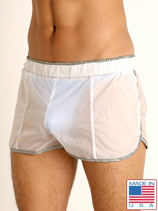 Model in white/grey Rick Majors Sheer Ice Nylon Shorts