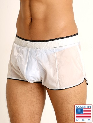 Model in white/black Rick Majors Sheer Ice Nylon Bulge Shorts