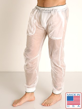 Model in white/grey Rick Majors Sheer Ice Nylon Lounge Pant