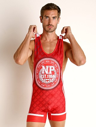 Model in red Nasty Pig Headlock Singlet