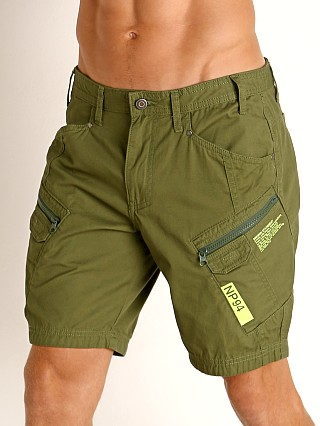 Model in green Nasty Pig Covert Cargo Short