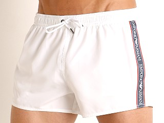 Emporio Armani Bold Logo Tape Swim Shorts White