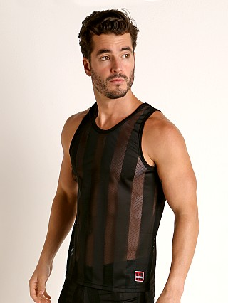 Model in black Cell Block 13 Midfield Mesh Tank Top
