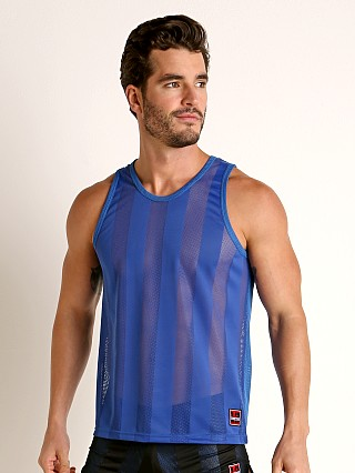 Model in blue Cell Block 13 Midfield Mesh Tank Top