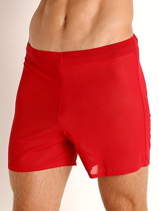 Model in red McKillop Push Ultra Stretch Mesh Fitness Shorts