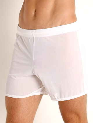 Model in white McKillop Push Ultra Stretch Mesh Fitness Shorts