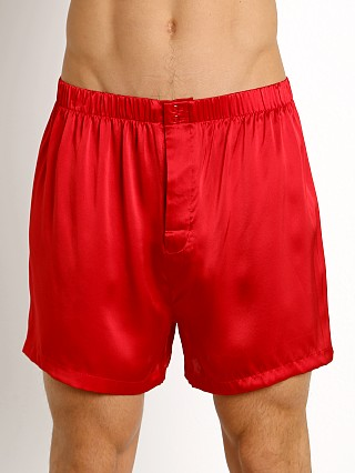 Model in red Magic Silk 100% Luxury Charmeuse Silk Boxer