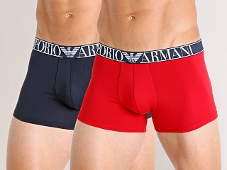 Model in poppy/marine Emporio Armani Endurance Trunks 2-Pack