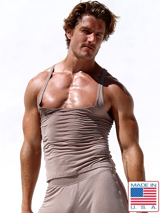 Model in sand Rufskin Lucien Stretch Rayon Tank Top