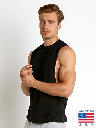 Model in black LASC Deep Cut Out Tank Top