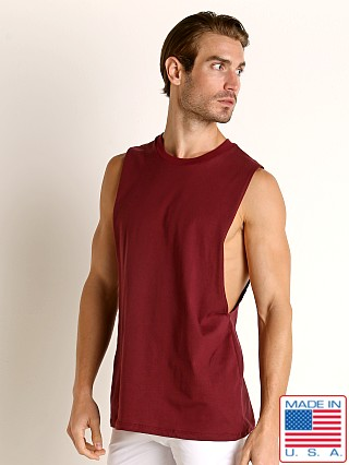 Model in burgundy LASC Deep Cut Out Tank Top
