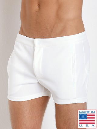 Model in white LASC Retro Coach's Short