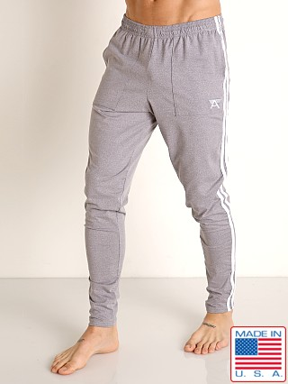Model in heather grey/white LASC Performance Gymnast Pant Heather Grey