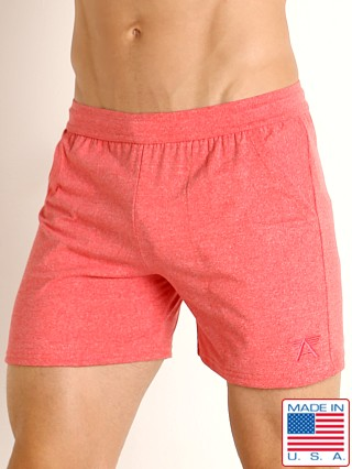 Model in heather red LASC Performance Training Shorts