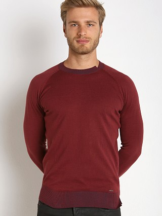 Model in burgundy Diesel K-Ante Sweater